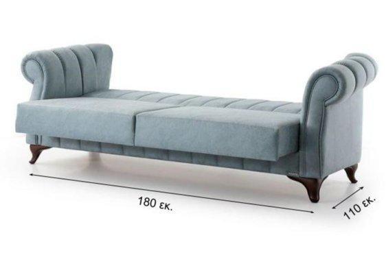 Παραδοσιακός Τριθέσιος Καναπές Κρεβάτι με Ριγέ Σχέδιο στην Πλάτη Φ-105044