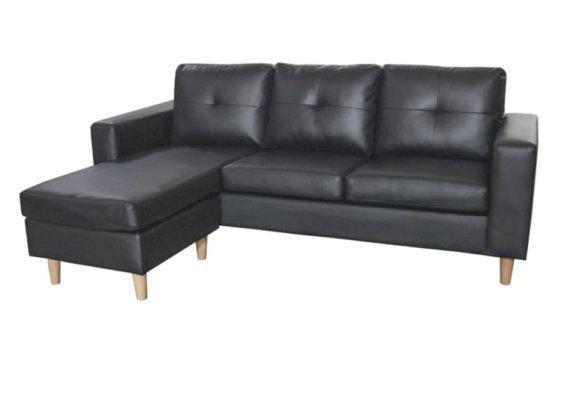 Αναπαυτικός Καναπές Γωνία από Δερματίνη σε Μαύρο Χρώμα Z-100097