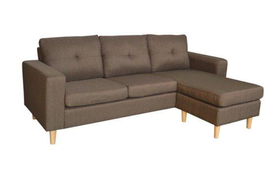 Υφασμάτινος Καναπές Γωνία σε Καφέ Χρώμα Ζ-100098