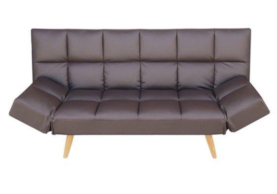Τριθέσιος Καναπές Κρεβάτι από Δερματίνη σε Καφέ Χρώμα Z-105042