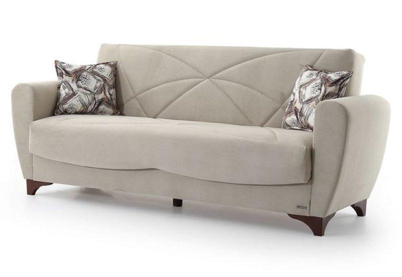 Μπεζ Υφασμάτινος Καναπές Κρεβάτι Φ-105050