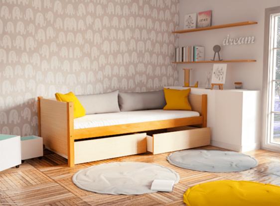 Καναπές-Κρεβάτι Επισκέπτη από Ξύλο Οξιάς S-280046