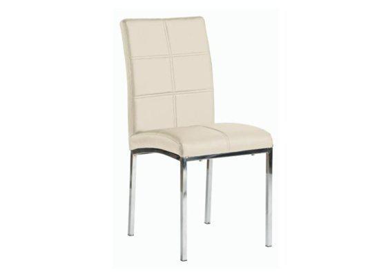Καρέκλα από Δερματίνη με Μοντέρνο Σχέδιο σε Κρεμ Χρώμα Z-190410
