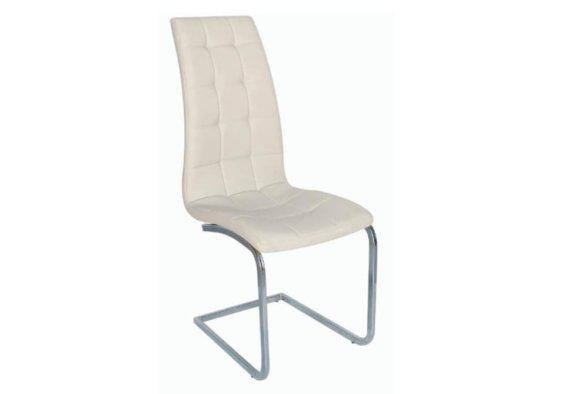 Άνετη Καρέκλα με Ψηλή Πλάτη από Δερματίνη σε Κρεμ Χρώμα Z-190407