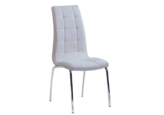 Καρέκλα με Εντυπωσιακή Επένδυση από Δερματίνη σε Κρεμ Χρώμα 190399