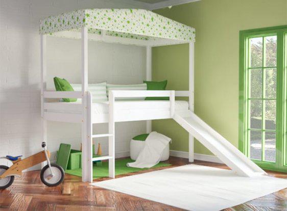 Παιδικό Κρεβάτι με Υφασμάτινο Ουρανό Οξιά S-280049