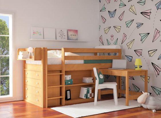 Ψηλό Κρεβάτι Με Χώρο για Συρταριέρα, Γραφείο και Ραφιέρα Οξιά S-280040