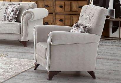 Αναπαυτική Παραδοσιακή Πολυθρόνα σε Γκρι Χρώμα Φ-135151