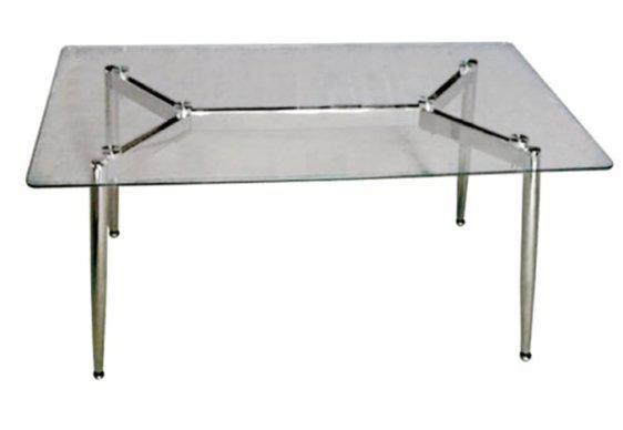 Τραπέζι Σαλονιού με Γυάλινη Επιφάνεια και Πόδια από Χρώμιο Ζ-120071