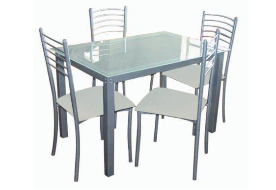 Γυάλινη Τραπεζαρία Σετ με Τέσσερεις Καρέκλες 140231
