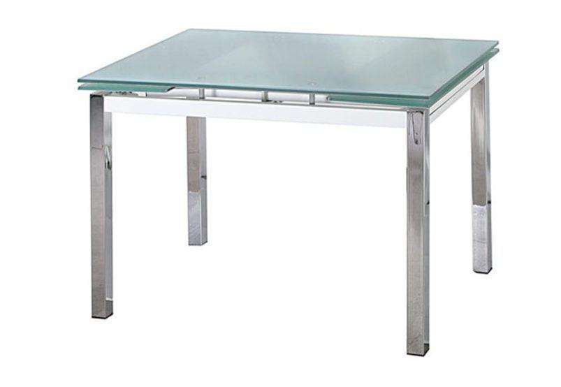 Επεκτεινόμενο Τραπέζι με Γυαλί Ασφαλείας και Μεταλλικά Πόδια Χρωμίου 140230
