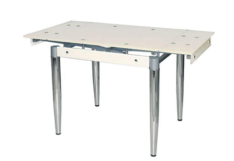 Γυάλινο Τραπέζι Ανοιγόμενο με Μεταλλικά Πόδια από Χρώμιο σε Μπέζ Χρώμα 140228