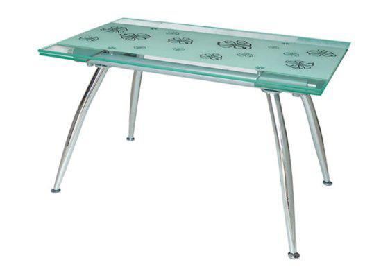 Γυάλινο Ανοιγόμενο Τραπέζι με Μεταλλικό Σκελετό σε Διάφορες Αποχρώσεις 140229