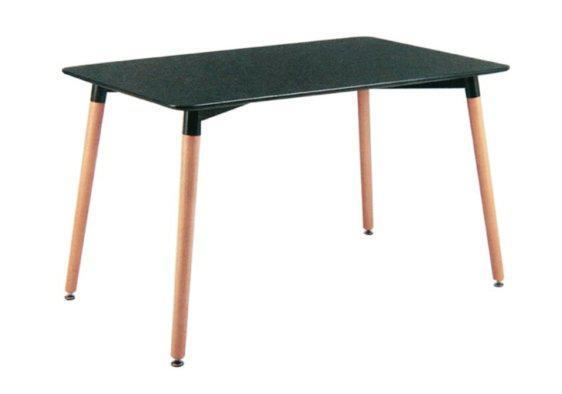 Τραπέζι με Επιφάνεια MDF και Ξύλινα Πόδια σε Μαύρο Χρώμα 040109