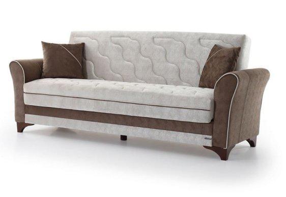 Τριθέσιος Καναπές Κρεβάτι σε Γκρί και Καφέ Χρώμα Φ-105050