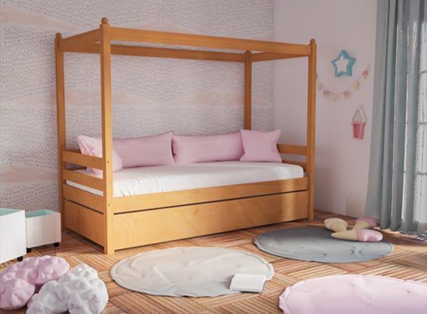 Καναπές- Κρεβάτι Ξύλινος με Κολωνάκια Οξιά S-280053