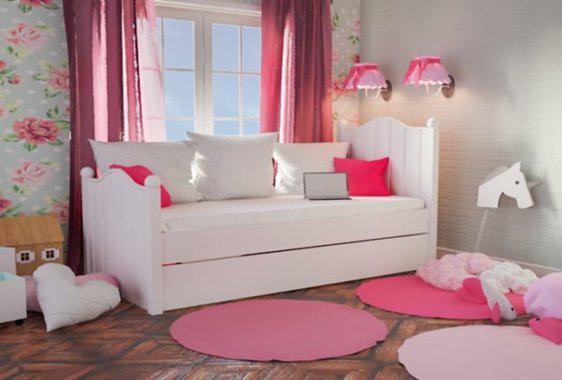 Ρομαντικό Λευκό Κρεβάτι για Κορίτσια Sa-280060