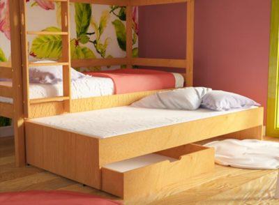 Τρία Κρεβάτια και Συρτάρια Σε Κουκέτα! Οξιά Sa-280059
