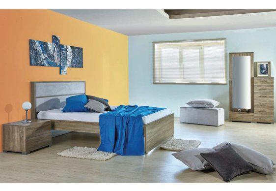 Διπλό Κρεβάτι Με Ύφασμα στο Κεφαλάρι Α-050442