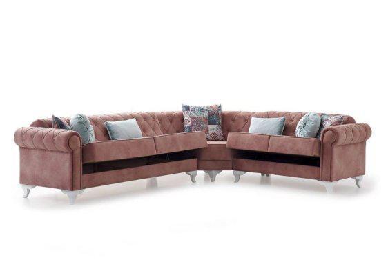 Γωνιακός chesterfield καναπές κρεβάτι Φ-100103