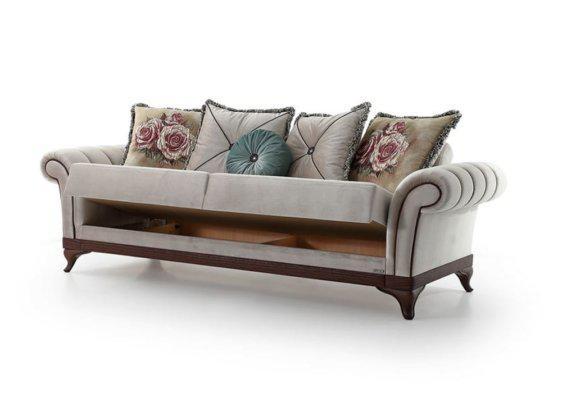 Κλασικός Καναπές Κρεβάτι Με Ξύλινη Βάση και Πολλά Μαξιλάρια Φ-105076