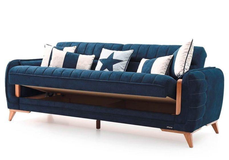 Τριθέσιος Καναπές- Κρεβάτι με Ξύλινες Λεπτομέρειες Φ-105061