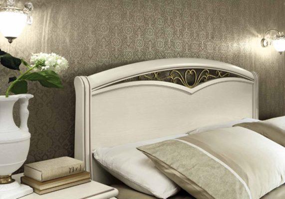 Κρεβάτι Λευκό Με Αντικέ Χρυσό Σχέδιο CG-0370153