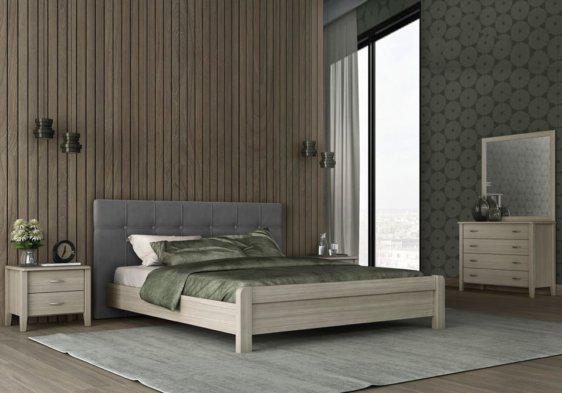 Ξύλινο Διπλό Κρεβάτι με Ντυμένο Κεφαλάρι S-050500
