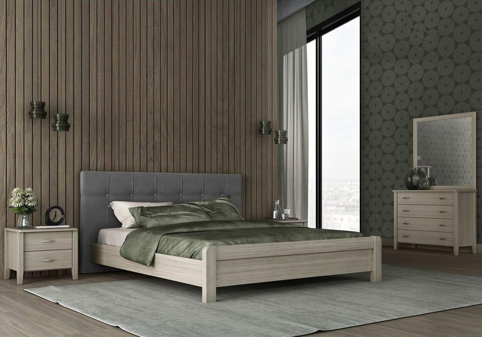 aa253577e03 Ξύλινο Διπλό Κρεβάτι με Ντυμένο Κεφαλάρι | Epiplonet.com