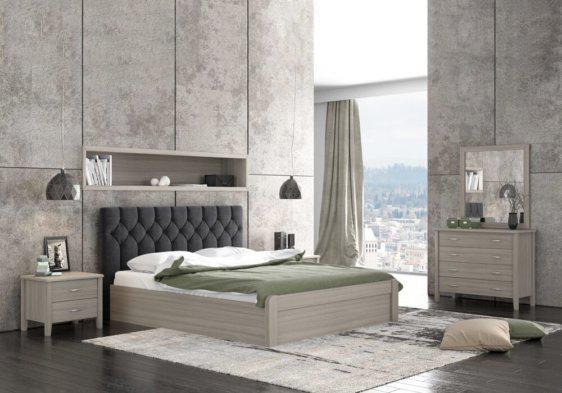 Διπλό Κρεβάτι Ξύλινο με Μπαούλο και Αποθηκευτικό Χώρο S-050502