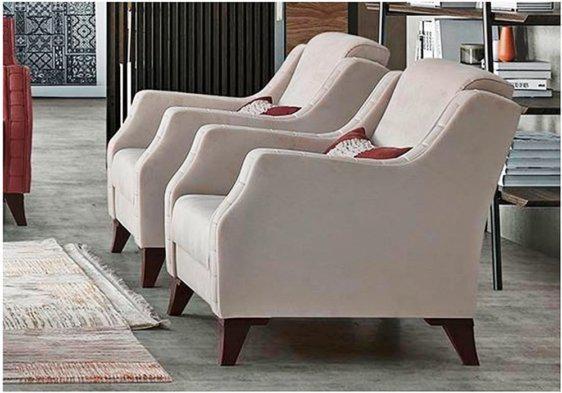 Τετραγωνισμένη Vintage Πολυθρόνα με Βέγκε Πόδια Φ-135176