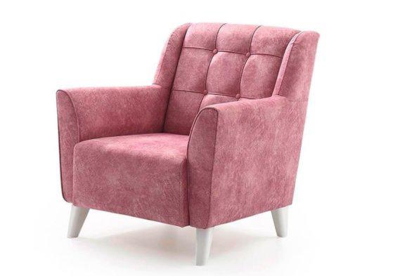 Πολυθρόνα Country Ροζ με Λευκά Πόδια Φ-135181