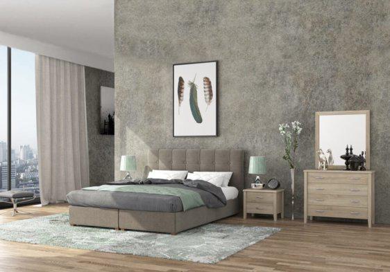 Ντυμένο Γκρι Διπλό Κρεβάτι με Αποθηκευτικό Χώρο S-050504