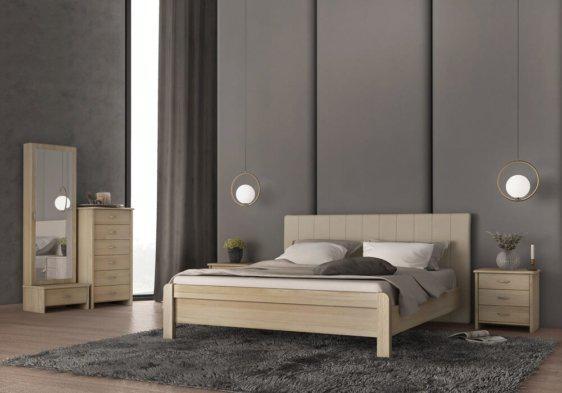 Κρεβάτι Διπλό με Ντυμένο Κεφαλάρι από Ξύλο Οξιάς S-050505