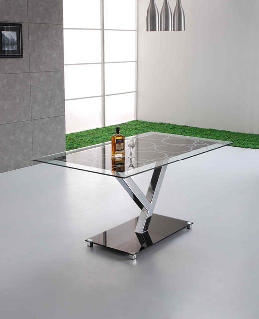 Σταθερό Τραπέζι Κουζίναs Γυαλί KO-2038, Διαστάσεις:90x160