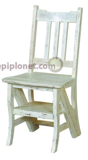 Καρέκλα από Μαόνι σε Λευκή Πατίνα J-143504
