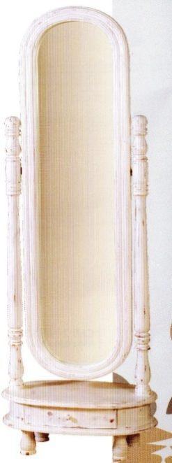 Καθρέφτης δαπέδου σε λευκή πατίνα  J-143530