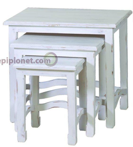 Τραπέζια Ζιγκόν σε Λευκή Πατίνα  J-143523
